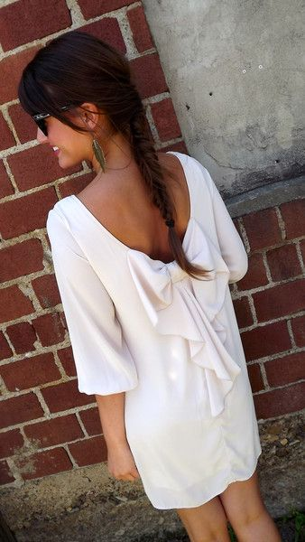 Ivory Bow-Back Dress... Such cute stuff on this site.