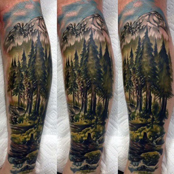 Man With Green Watercolor Forest Scene Half Sleeve Tattoo Nature Tattoos Tattoos For Guys Tattoos