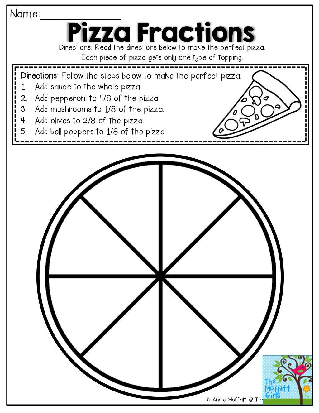 Pizza Fractions First Grade Worksheet