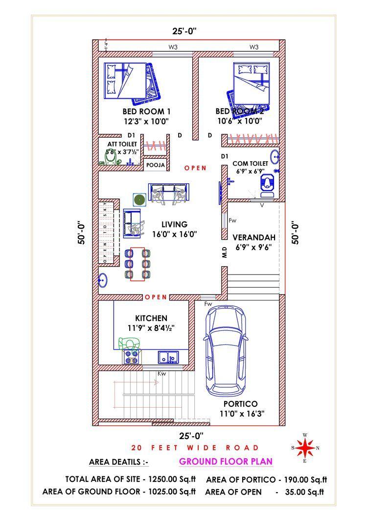 East Facing Vastu Concept 20x40 House Plans 2bhk House Plan Open Floor House Plans