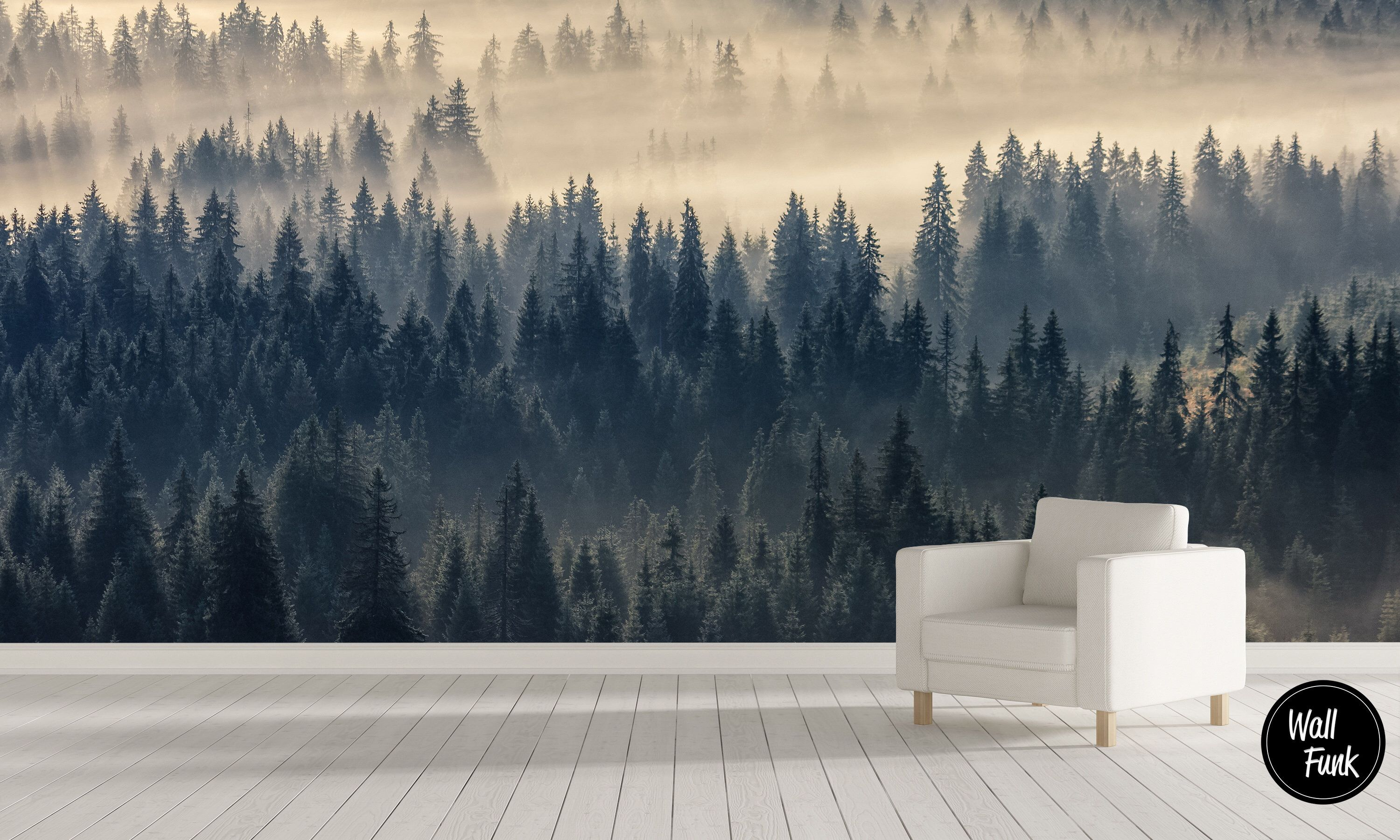 Removable Nature Wallpaper Water Activated Temporary Stick On Etsy Forest Mural Wall Wallpaper Stick On Wallpaper