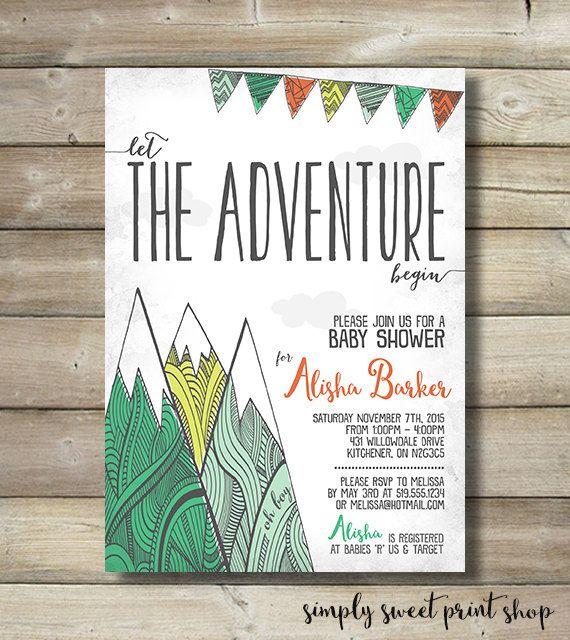 let the adventure begin baby shower invite invitation boy mountain, Baby shower invitations