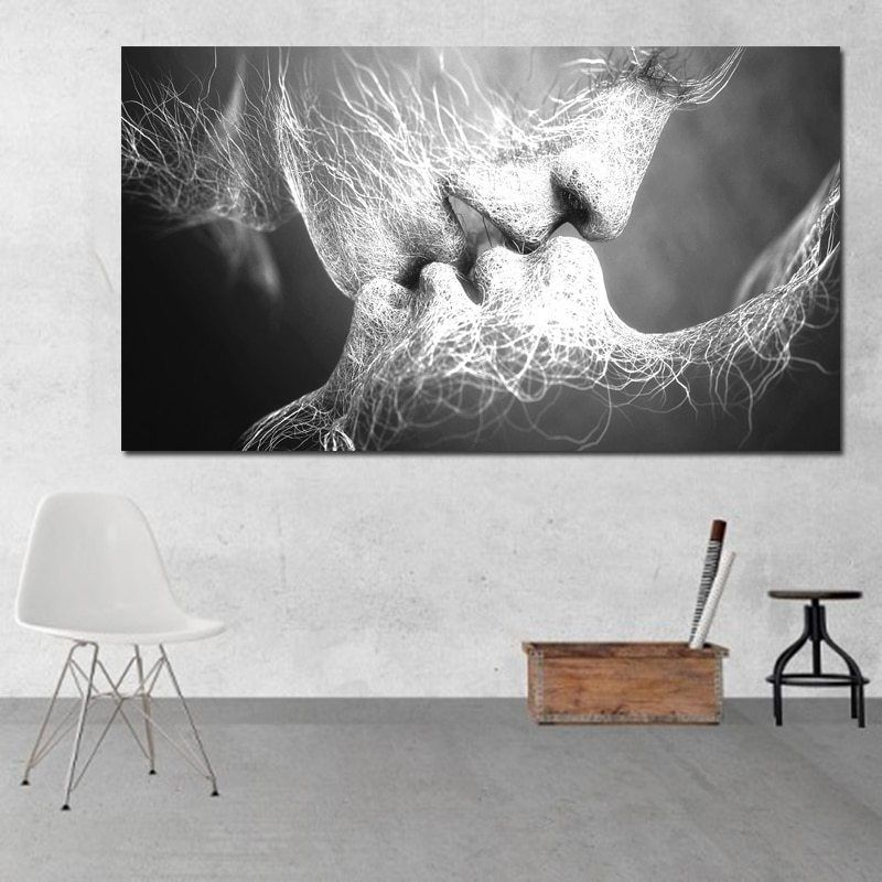 /& White Home Decor Love Kiss Abstract Painting Decorative Picture Wall Art
