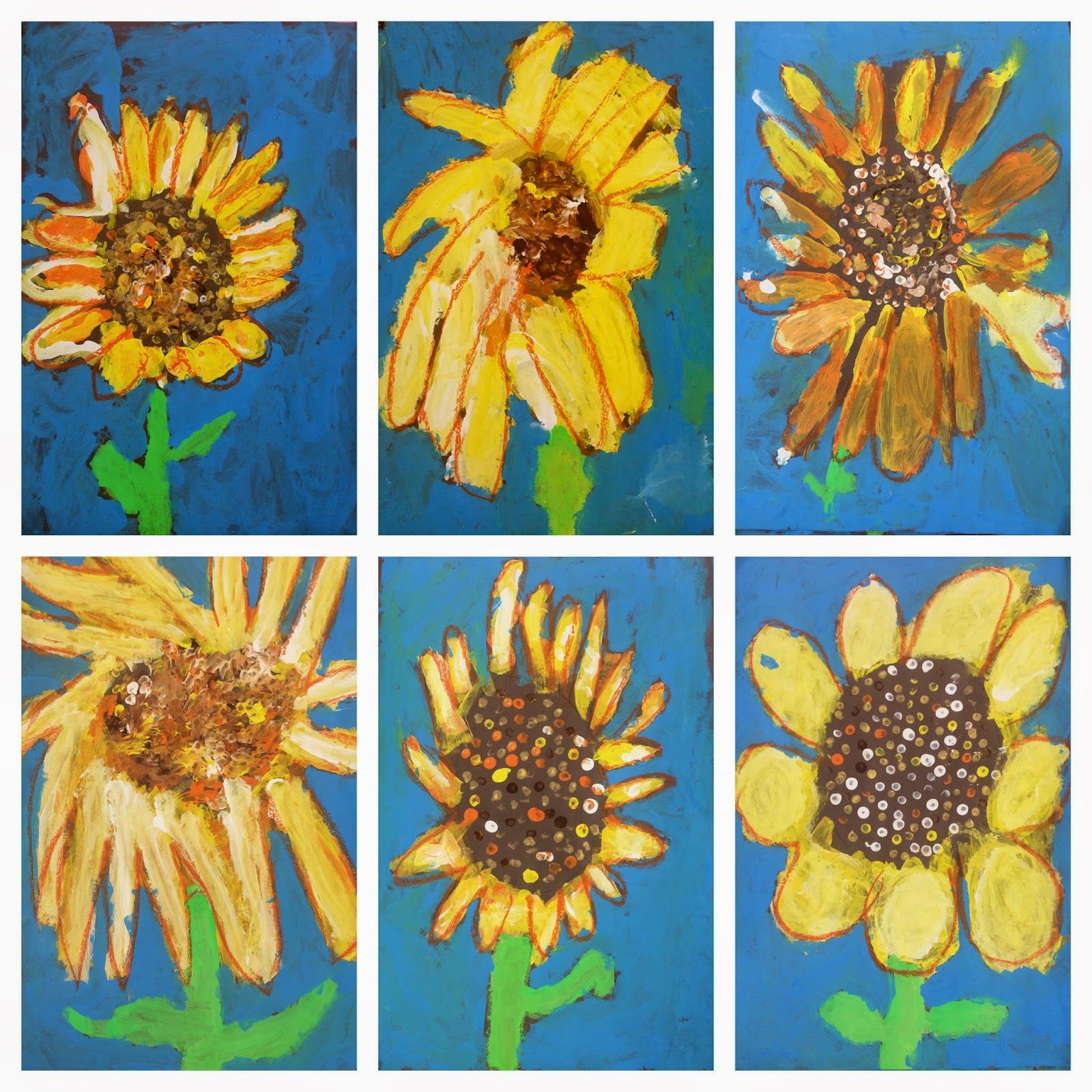 1st Grade Sunflowers (Exploring Art: Elementary Art) | Spring art ...