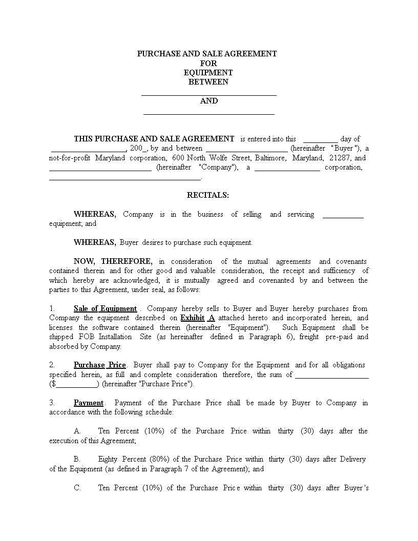 Equipment Purchase Agreement Form How To Draft An Equipment Purchase Agreement Form Download This Equipment P Purchase Agreement Templates Business Template