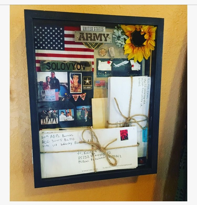 Diy Shadow Box Of Letters From Army Basic Training Diy Shadow Box Military Shadow Box Army Crafts