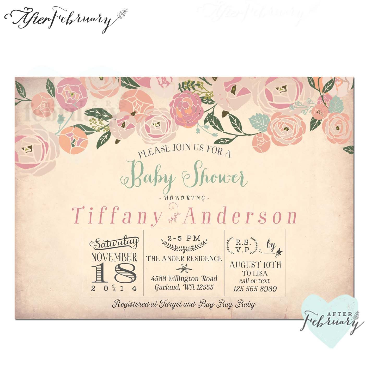 Baby Girl Shower Invitation  Whimsical Baby Shower Invite