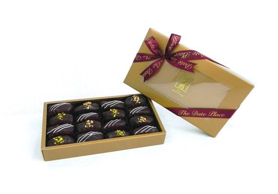 Gourmet Date Chocolates 16 Pieces Stuffed Dates Vegetarian and Gluten-Free -- Almonds, Pistachio, Hazelnuts, Dark Chocolate