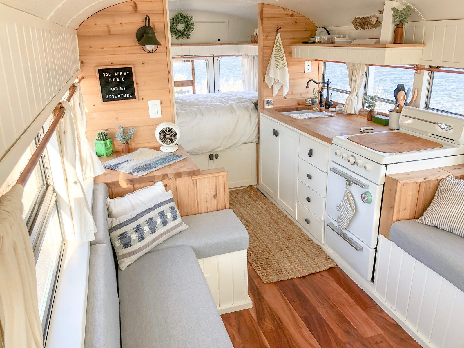 , Photo 7 of 9 in Before & After: A Michigan Couple Turn a School Bus Into an Adventure Mobile – Dwell #bus #couple #Michigan #photo #School, Travel Couple, Travel Couple
