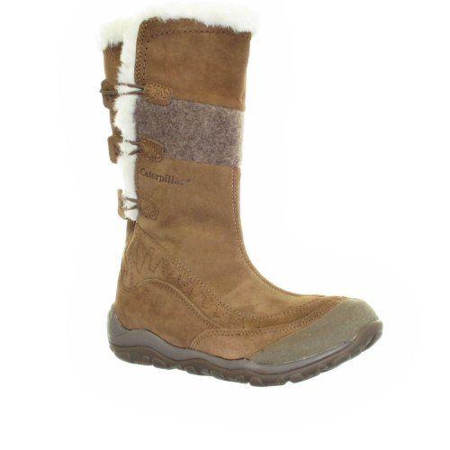 Womens Catapillar Tan Suede Fur Trim Winter Boots
