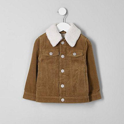 Mini boys brown check fleece collar coat
