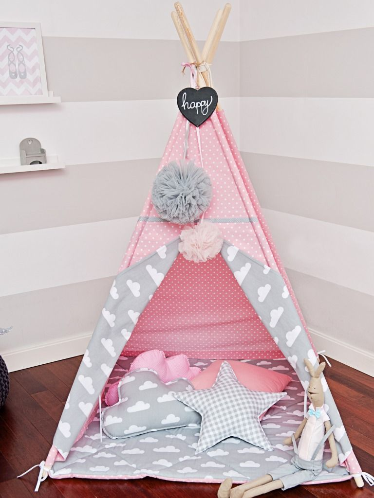 tipi tent rose de nuages jeux jouets par handmade of. Black Bedroom Furniture Sets. Home Design Ideas