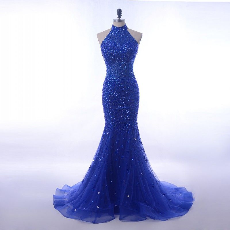 af8e1c407080 Luxury Sequin Crystals Long 2018 Royal Blue Halter High Neck Mermaid Prom  Dress [PS1707] - $198.99 :