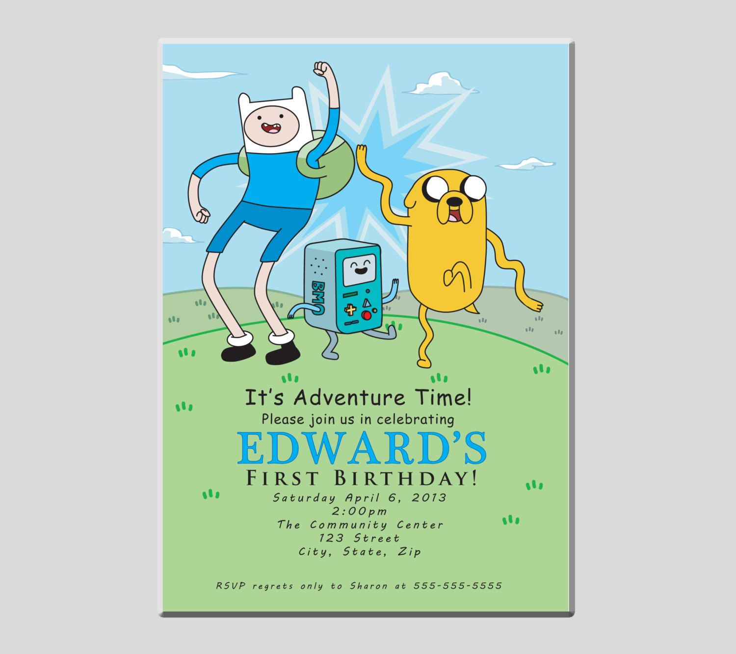 Adventure Time Finn Jake and Beemo Birthday Party Invitation. $15.00 ...