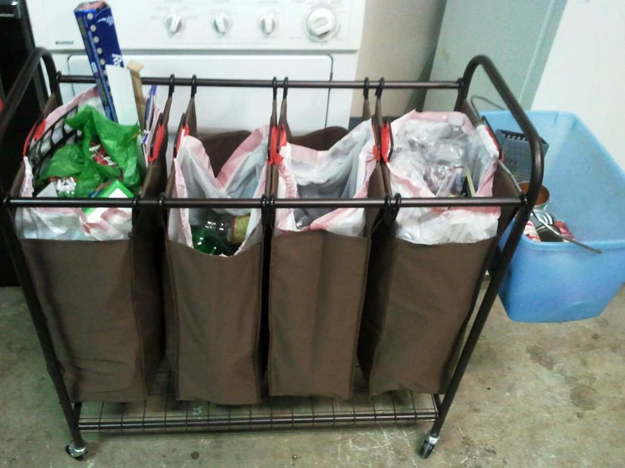 Kitchen Garbage Bags Cabinet Home Depot Using A Laundry Cart With Trash I Have Recycling