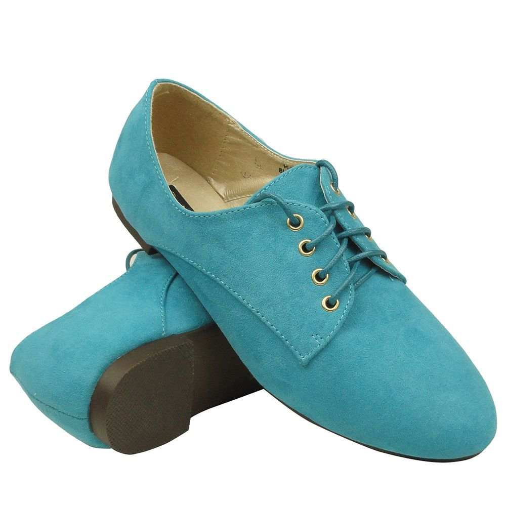 later in stock the best attitude Womens Ballet Flats Suede Lace Up Casual Comfort Shoes Blue ...