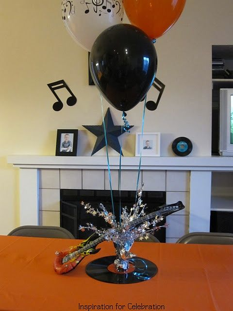 Rock 39 n roll centerpieces bing images reunion ideas pinterest rock n roll and themed parties - Rock and roll theme party decorations ...