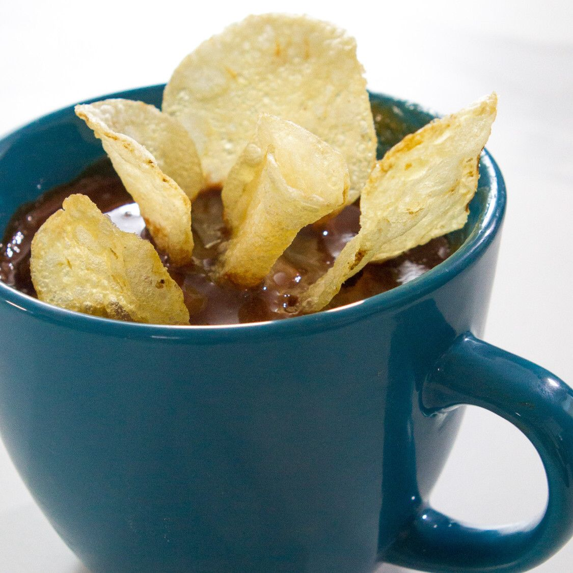 Peanut Butter Mug Cake with Chocolate Icing and Potato Chips ...