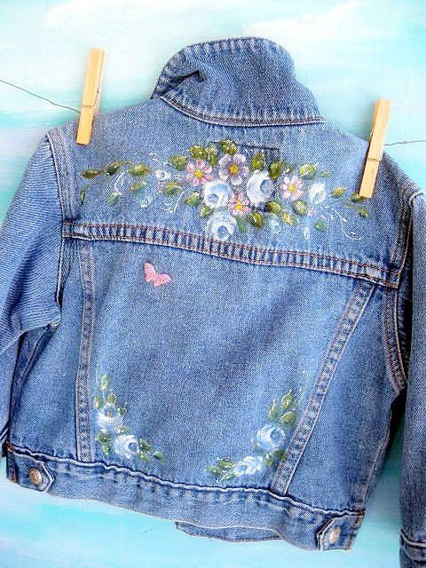 98870ae862c3 Denim Jacket, Upscaled, Toddler, Painted, One to Two years, Altered, by  mailordervintage on etsy
