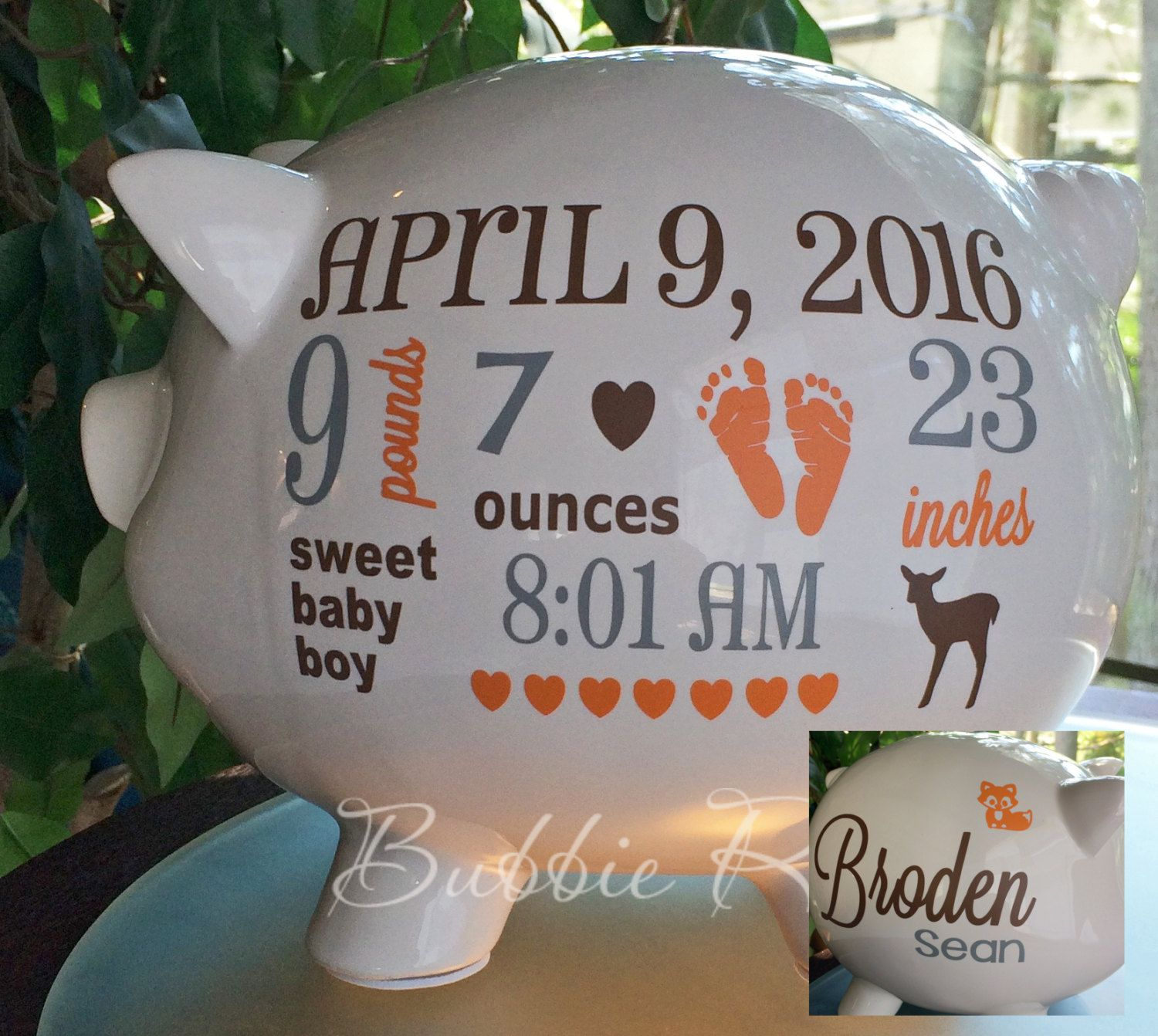Personalized piggy bank custom piggy bank woodlands baby baby boy personalized piggy bank custom piggy bank woodlands by bubbiered negle Choice Image