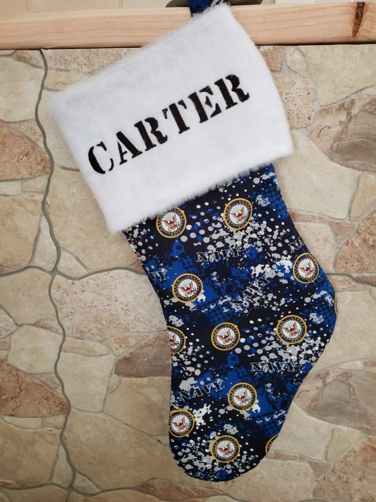 Personalized Military Christmas Stockings, Navy, Marines