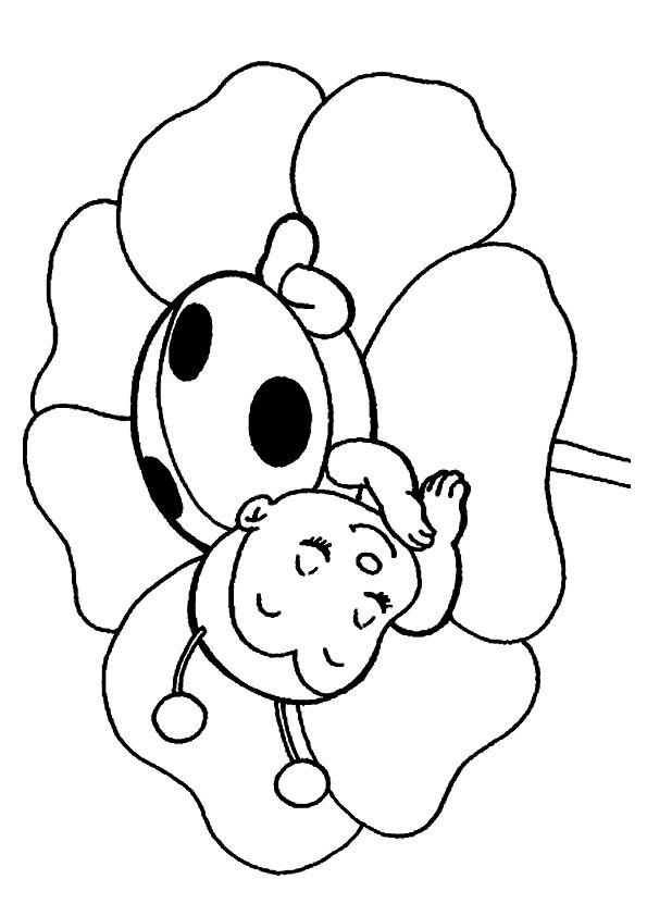 print coloring image  Ladybug Girls and Embroidery
