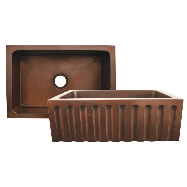 Whitehaus Copperhaus Sink Wh3020cofcfl Rectangular Undermount Sink With A 3 1 2 Center Dra Copper Farmhouse Sinks Undermount Kitchen Sinks Copper Kitchen Sink