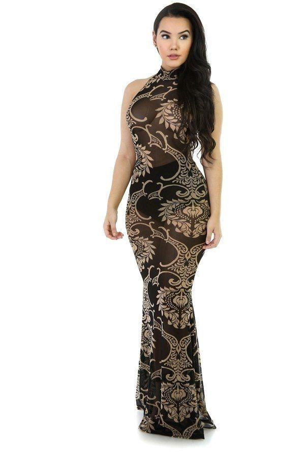 30b5db458f5 Mermaid Sheer Maxi Party Dress. Tribal flower sheer black mesh dress long  party evening gown women s long dress see through