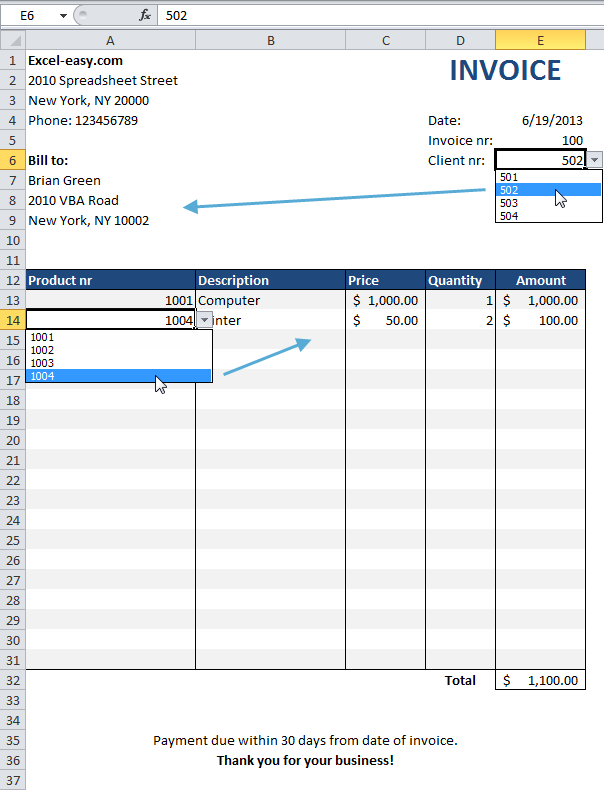 Computer Invoice Automated Invoice In Excel  Office  Pinterest