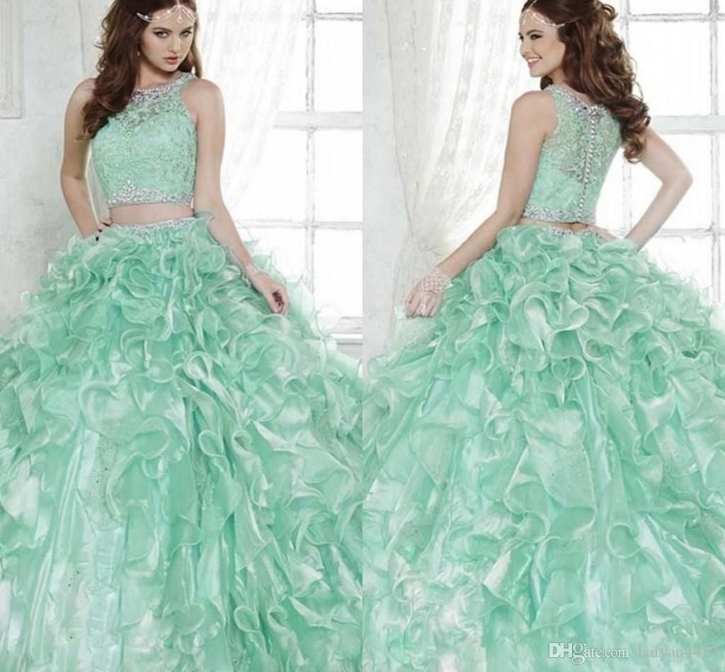 new mint green two pieces quinceanera ball gown dresses lace