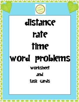 Distance rate time word problems worksheet task cards basic twenty very basic distance rate time word problems two printing formats included all problems on one page or problems printed on two pages could copy ibookread PDF