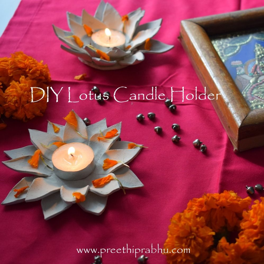 DIY Clay Lotus Candle Holder Lotus candle, Clay candle