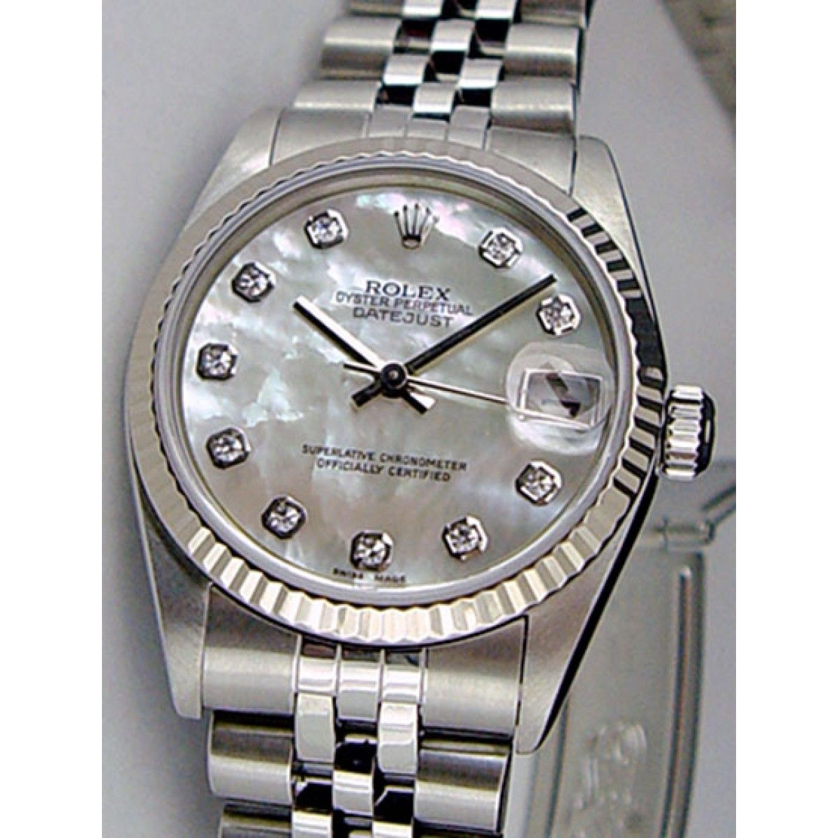 400be7b8726 Rolex Datejust Lady 31 White Gold Steel Mother of Pearl Diamond Dial 78274  Jubilee WATCH CHEST .