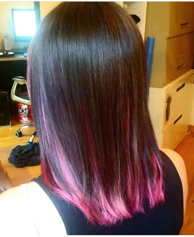 A Perfect Pink Underneath Layer With A Light Brown Hair