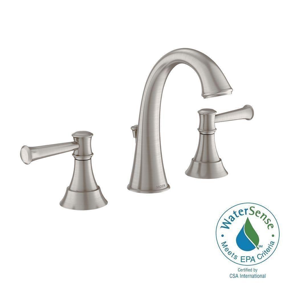 MOEN Ashville 8 in. Widespread 2-Handle High-Arc Bathroom Faucet ...
