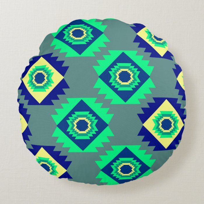 Blue tribal shapes Round Pillow