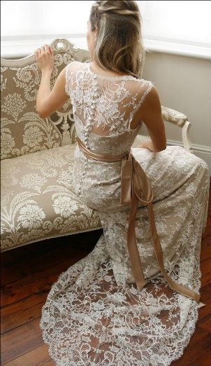 Juliet Poyser wedding dress, lace with coffee sash
