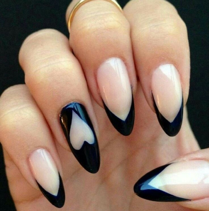 Black Tipped French Manicure On Almond Nails With Images Heart