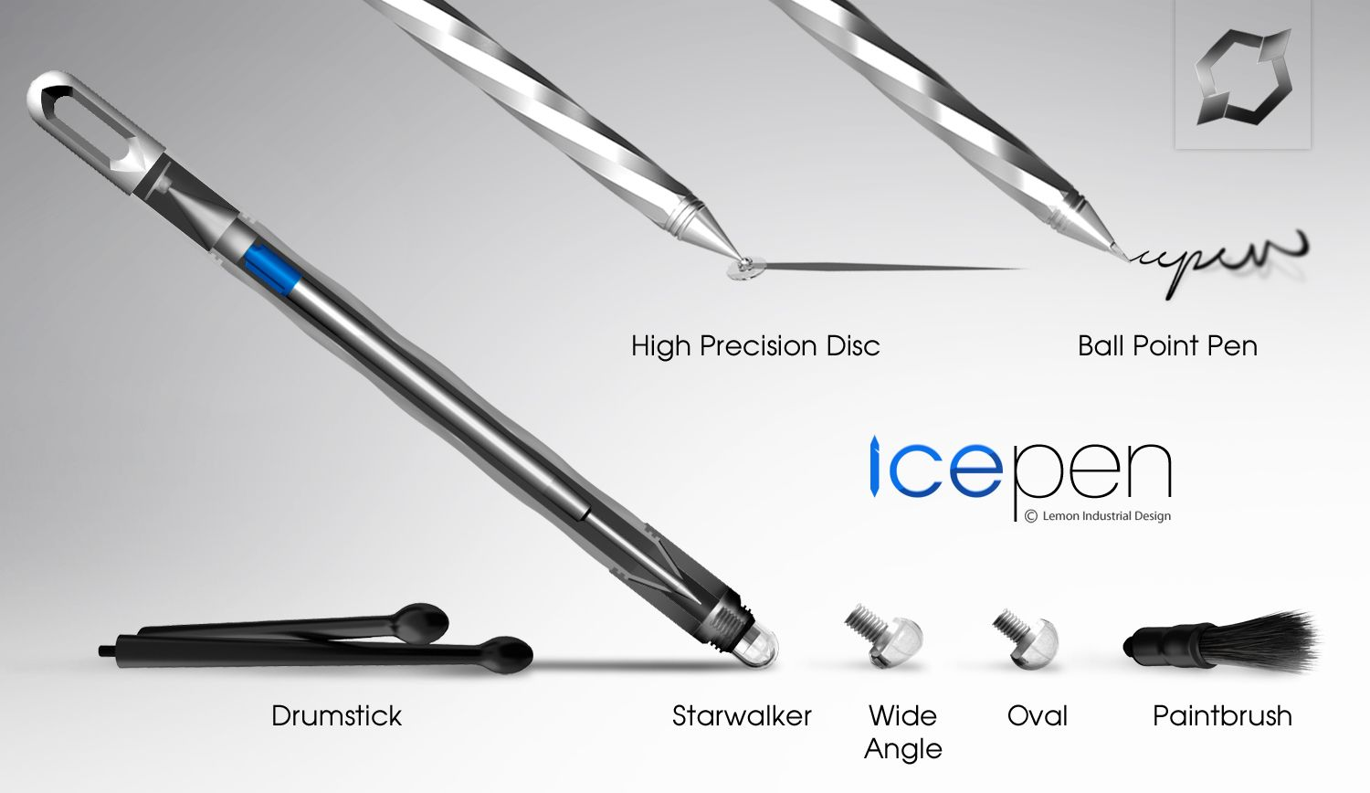Icepen the futuristic pen for all working surfaces iconic design