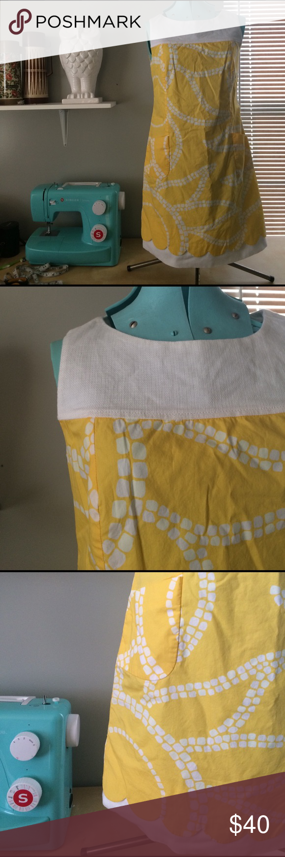 Lilly Pulitzer dress, size 4 Yellow and white Lilly Pulitzer dress. Scalloped hem layered over linen. In good condition - some faint markings in the upper right quadrant of the last photo (this is the back right half of the dress). Lilly Pulitzer Dresses