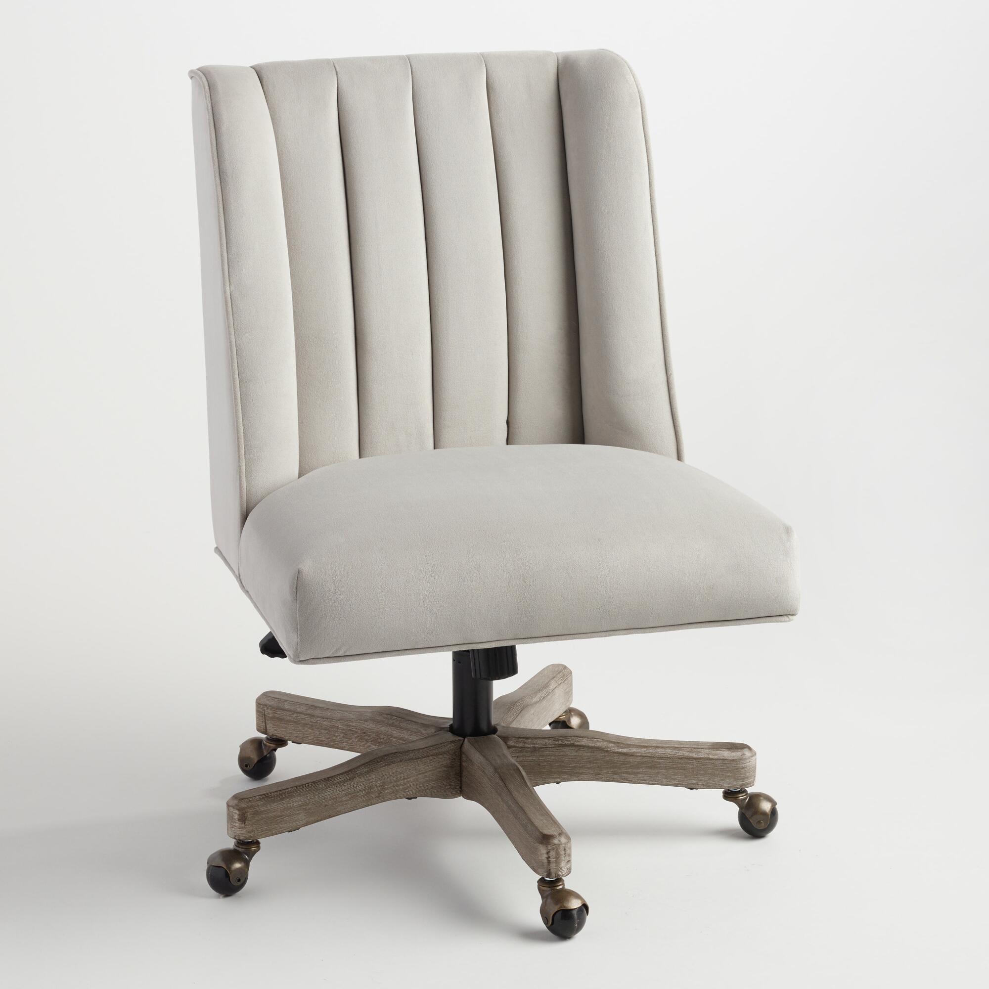 Dove Velvet Ava Channel Back Upholstered Office Chair Fabric By