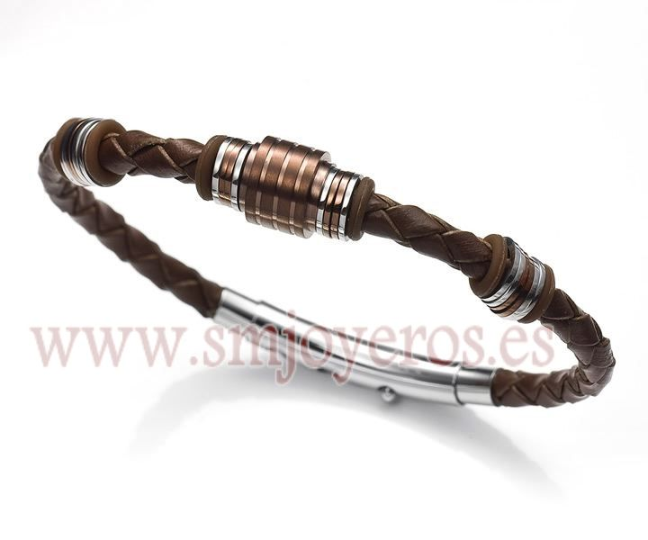 308d7fc657f3 Pulsera Viceroy Fashion de acero bicolor Ip marron para caballero ...