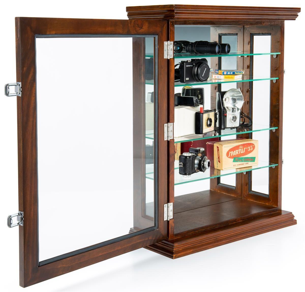 Wall Or Counter Curio Cabinet Mirror Back Adjustable Shelves Locking Dark Cherry In 2020 Adjustable Shelving Wall Curio Cabinet Tempered Glass Shelves