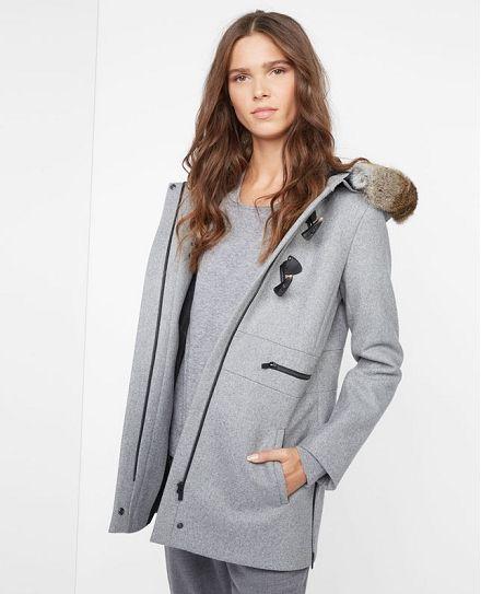 Dufflecoat 63% Laine VANCION Couleur GRIS   Fashion