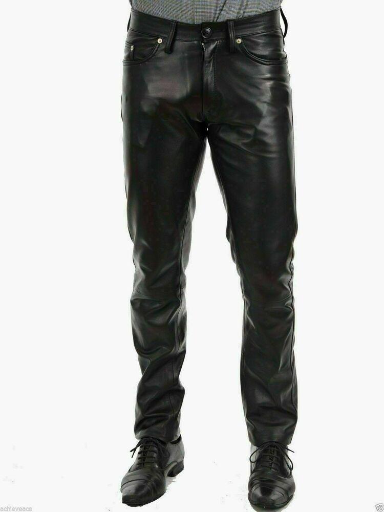 Leather Pants Biker Motorcycle Shining Leather Pants New Biker Men's Black  #Unbranded #Fitness