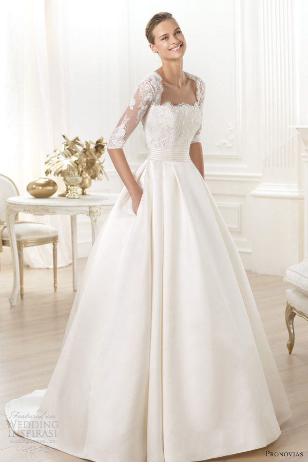pronovias 2014 costura leslie sleeve wedding dress ball gown pockets