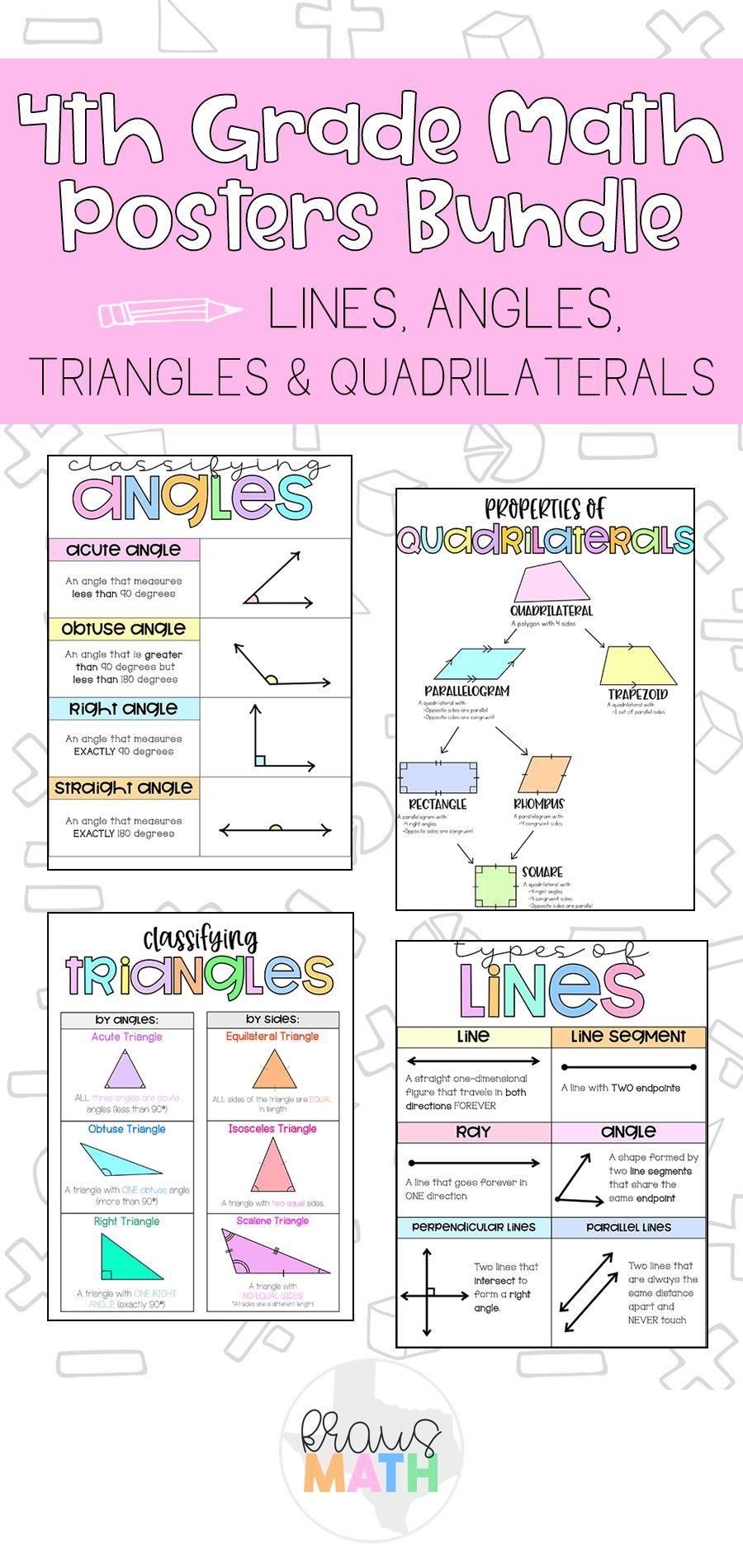 4th Grade Math Posters Geometry Bundle Kraus Math Math Poster 4th Grade Math Math Charts
