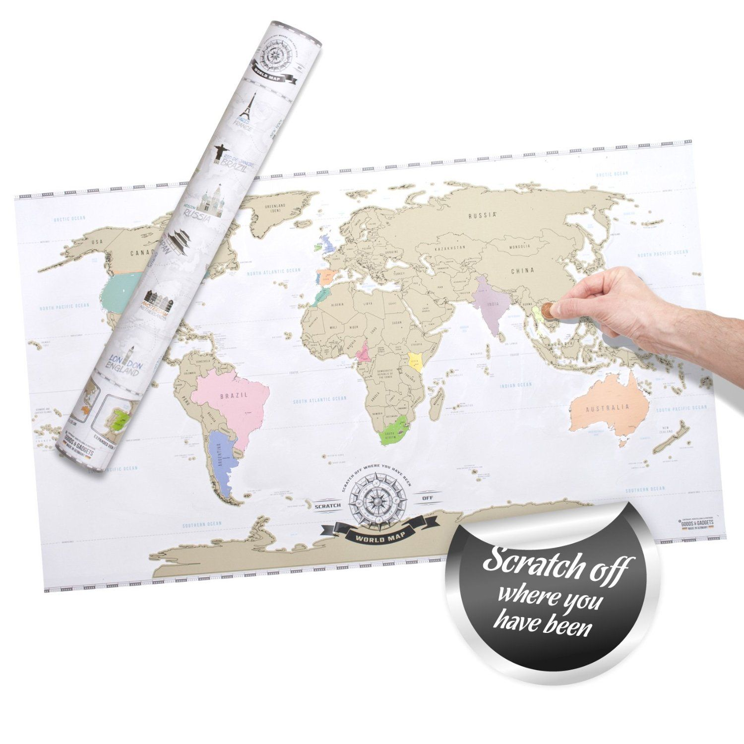 Amazon scratch off world map deluxe personalized travel map amazon scratch off world map deluxe personalized travel map poster xxl gumiabroncs Image collections