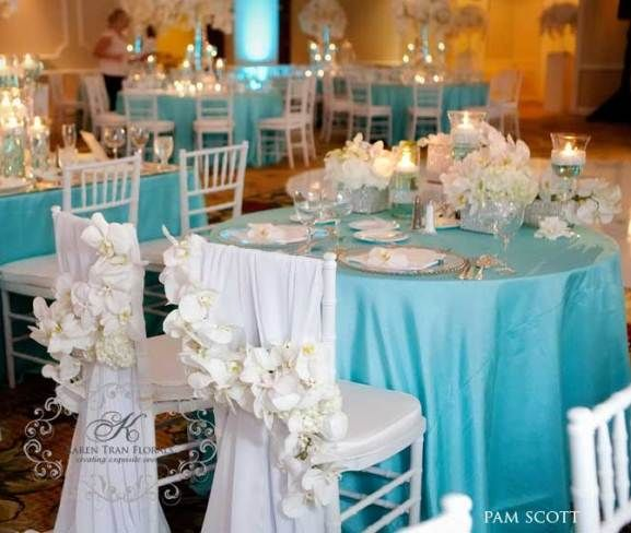 Décoration de mariage bleu turquoise