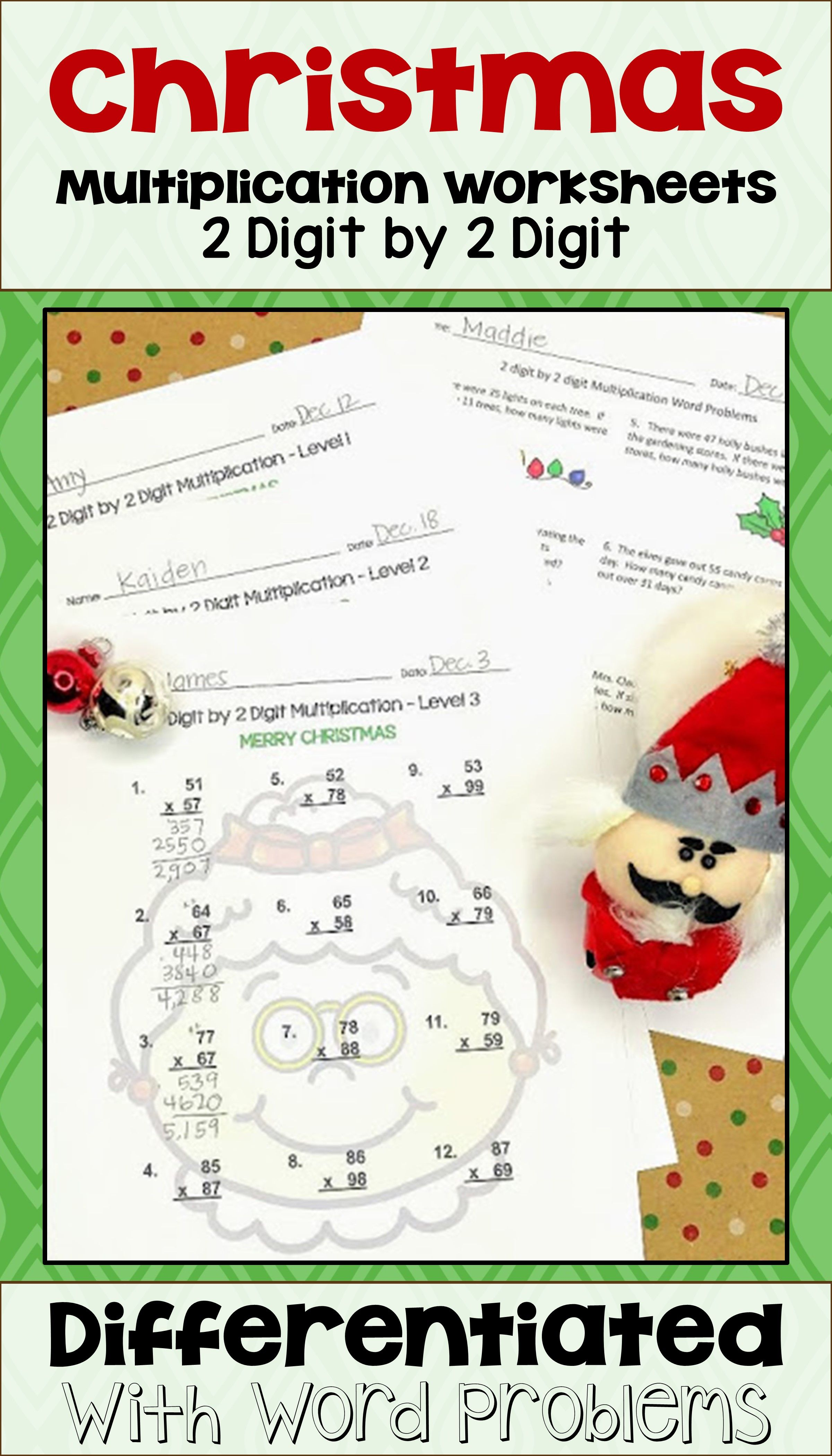 Christmas 2 Digit By 2 Digit Multiplication Worksheets